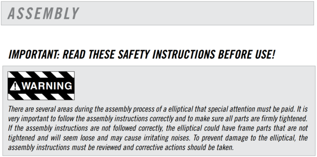 elliptical assembly warning